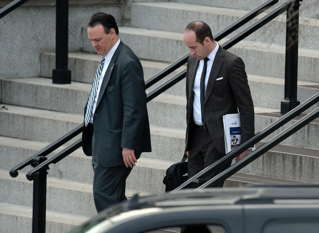 Rick Dearborn, left, and senior policy adviser Stephen Miller, right, at the Eisenhower Executive Office Building on the White House complex in Washington Jan. 13.