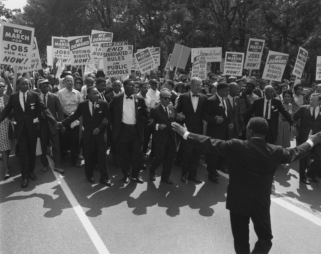 Civil Rights leaders marching from the Washington Monument to the Lincoln Memorial, 1963