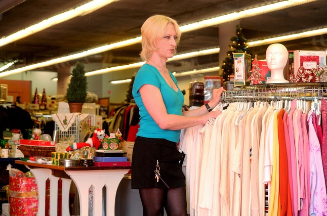 A transgender woman is pitched at a Goodwill store in San Francisco.