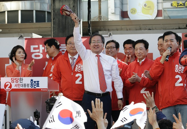 Hong Joon-pyo at a campaign event in Seoul on May 5.