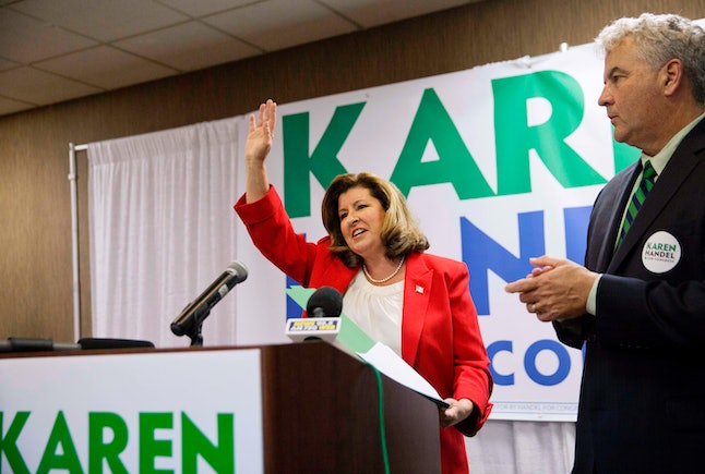 Republican candidate Karen Handel waves after speaking at an primary night watch party in April.