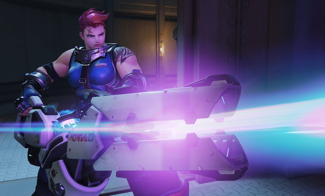 Zarya's health bar is made up partially of shields, which regenerates over time.