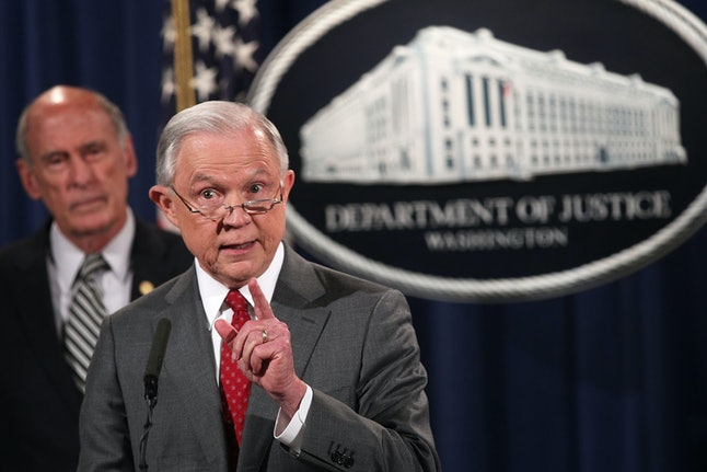 Jeff Sessions speaks during an event at the Justice Department on Aug. 4.
