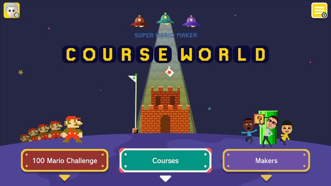 Course World is the social hub in Super Mario Maker Wii U where players can share their work and sample others' levels.