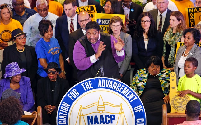 Rev. William Barber, the North Carolina NAACP president, rallies people against North Carolina's election law changes in 2016.