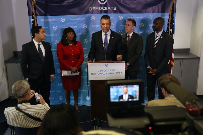 California Secretary of State Alex Padilla speaks as Rep. Joaquin Castro, Rep. Terri Sewell, Jason Kander, president of Let America Vote and DNC Vice Chair Michael Blake listen during a July press conference in Washington.