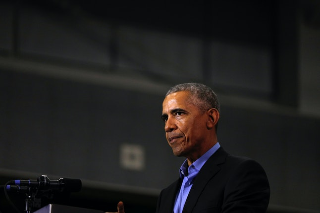 President Barack Obama speaks at a campaign rally in Michigan Oct. 26.