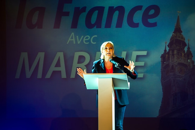 Marine Le Pen delivers a speech during a campaign rally on June 8, in support of the local candidate for the upcoming parliamentary election.