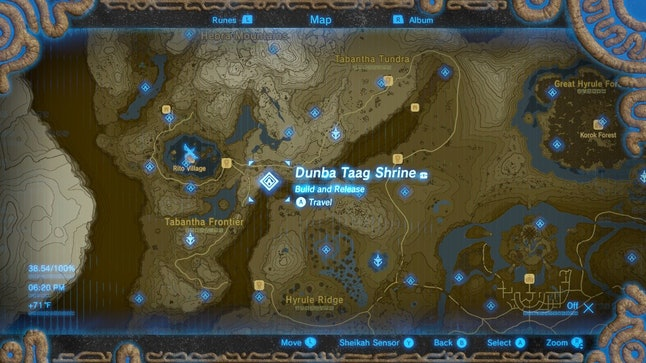The location of Dunba Taag Shrine in 'Breath of the Wild.'