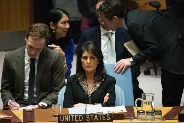 U.S. Ambassador to the United Nations Nikki Haley listens during a Dec. 18 Security Council meeting concerning the situation in the Middle East involving Israel and Palestine.