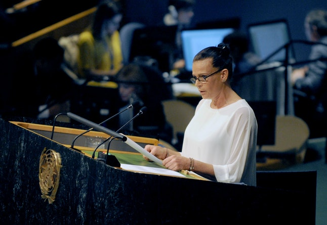 Princess Stephanie of Monaco speaks at a 2016 meeting on HIV/AIDS at the United Nations headquarters in New York City.