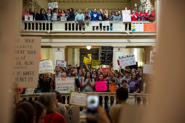 Thousands rallied at the Oklahoma state Capitol building during the third day of a statewide education walkout on April 4 in Oklahoma City. Teachers and their supporters are demanding increased school funding and pay raises for school workers.
