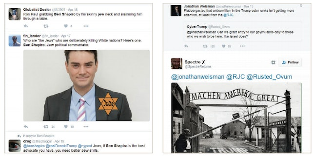 Examples of anti-Semitic tweets sent to journalists