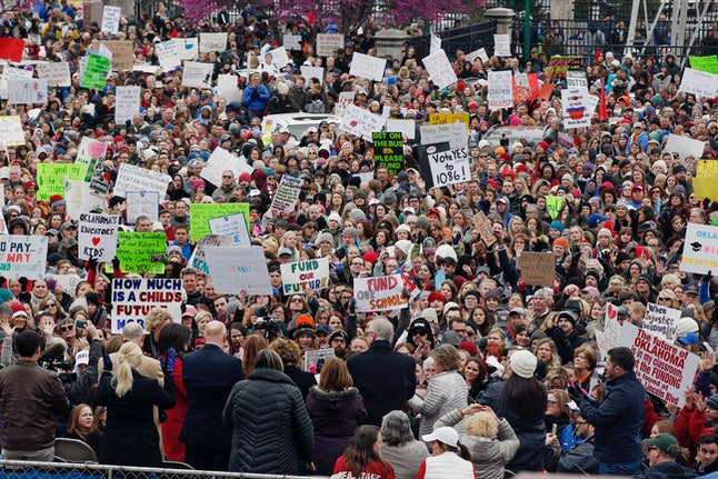 The crowd cheers during a teacher rally at the state capitol in Oklahoma City on April 2.