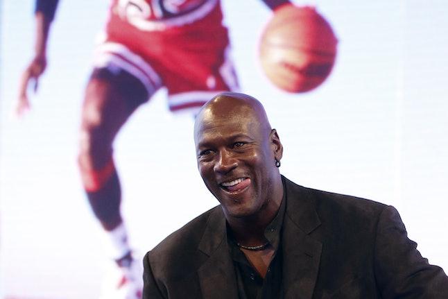 NBA legend Michael Jordan delivers a press conference at the Palais de Tokyo in Paris on June 12, 2015.
