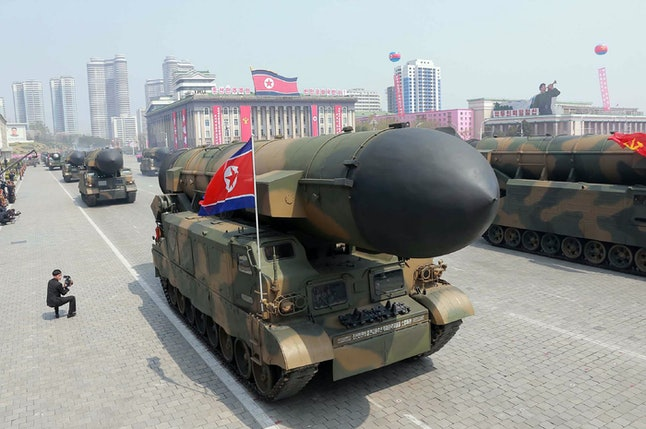 North Korea's ballistic missiles are shown during an April 17 military parade through the capital of Pyongyang.