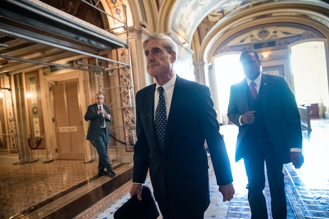 Special counsel Robert Mueller departs after a closed-door meeting with members of the Senate Judiciary Committee in June.