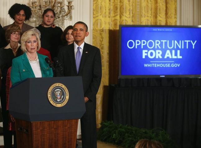 Lilly Ledbetter speaks before U.S. President Barack Obama signed an executive order banning federal contractors from retaliating against employees on Equal Pay Day on April 8, 2014, in Washington, D.C.