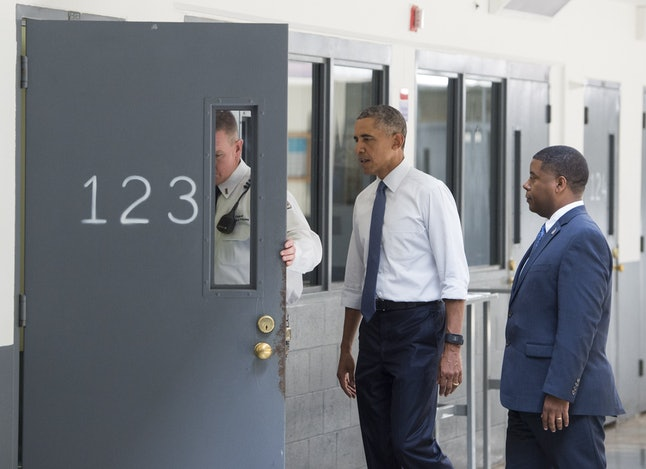 Obama visits a federal prison. He is the only sitting president who has done so.