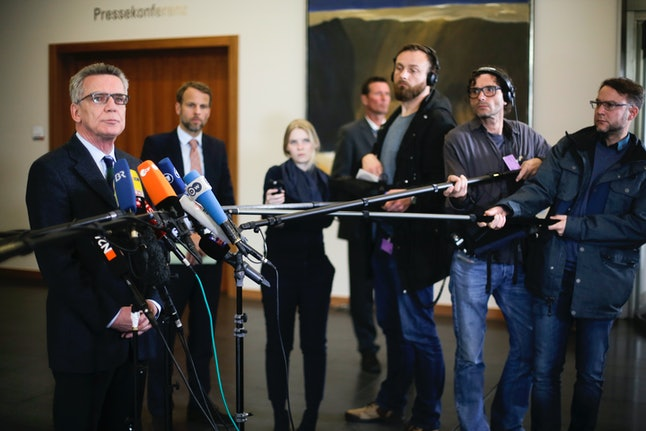 German Interior Minister Thomas de Maiziere speaks to the press after the arrest of 28-year-old Sergej W.