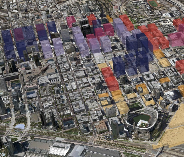 San Diego in a 3-D model created by Esri's CityEngine software displaying zoning law restrictions in the city.