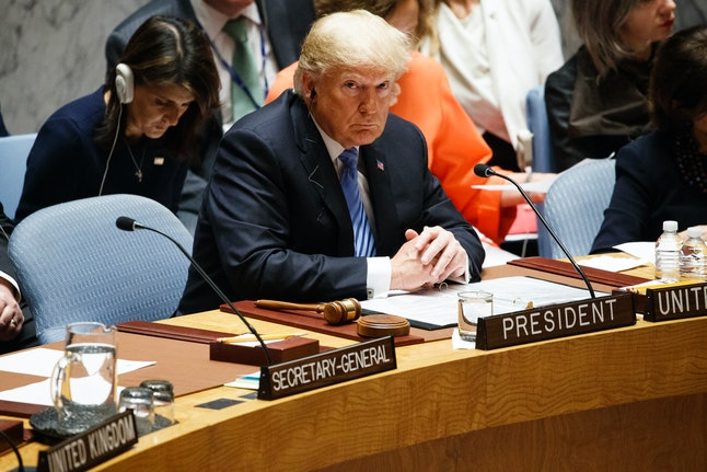 President Donald Trump chairs a United Nations Security Council meeting on Wednesday.