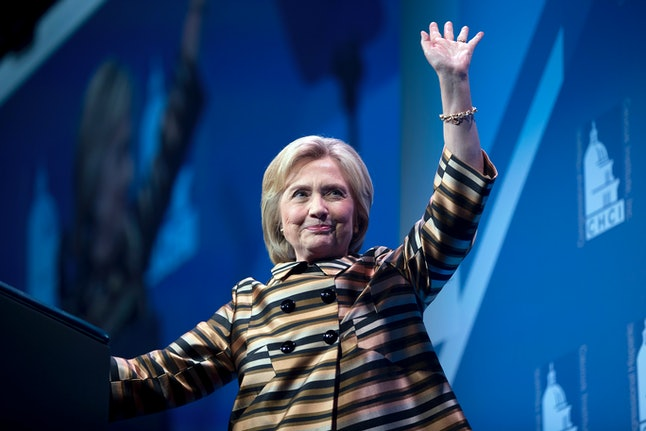 Democratic presidential candidate Hillary Clinton waves after speaking at the Congressional Hispanic Caucus Institute's 39th Annual Gala Dinner held at the Washington Convention Center, in Washington, Thursday, Sept. 15, 2016. Clinton returned to the campaign trail after a bout of pneumonia that sidelined her for three days and revived questions about both Donald Trump's and her openness regarding their health.