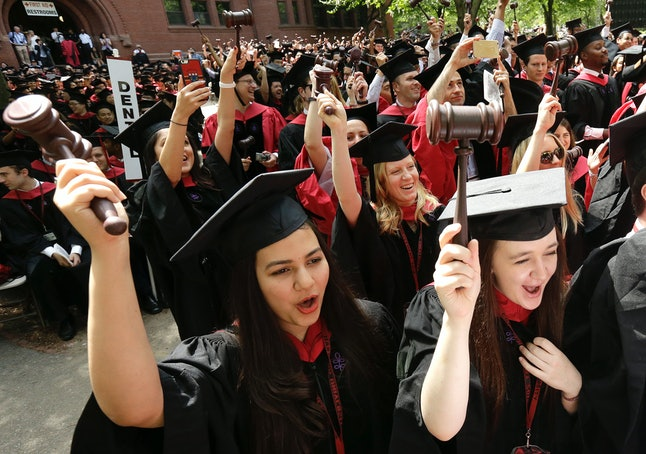 Students at Harvard's commencement
