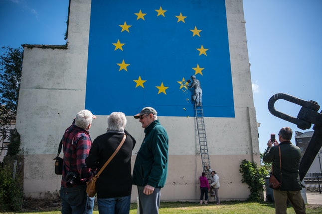 Banksy's Brexit mural photographed on May 9, 2017, in Dover, England