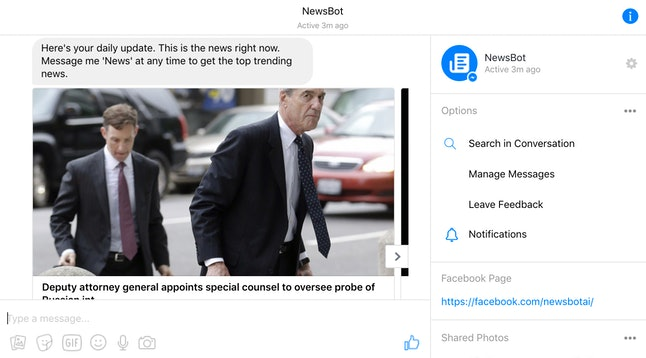 NewsBot can deliver daily digests of the latest breaking news to your Facebook Messenger inbox every morning.