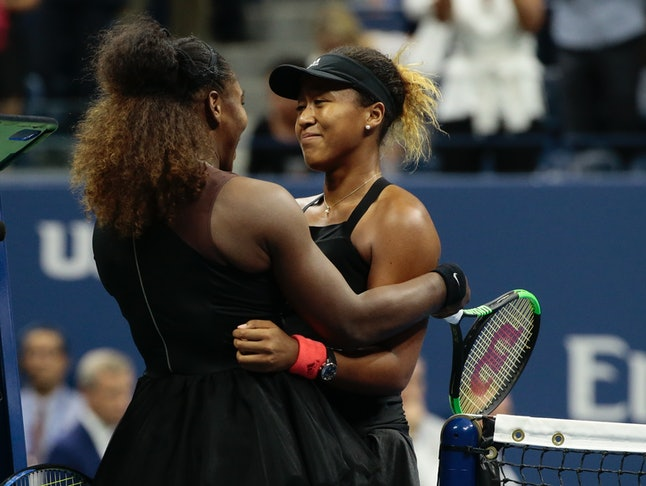Naomi Osaka, of Japan, is hugged by Serena Williams after Osaka defeated Williams in the women's final of the U.S. Open tennis tournament, Sept. 8, in New York.