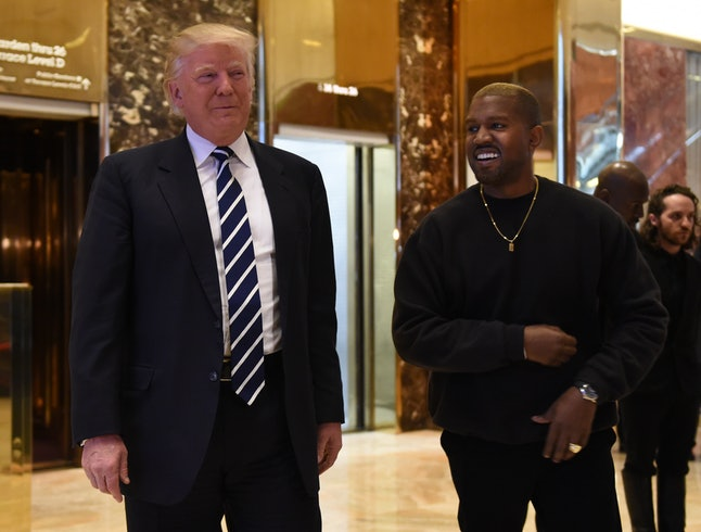 Kanye West and then President-elect Donald Trump  speak to the press after their meeting at Trump Tower on Dec. 13, 2016 in New York City.