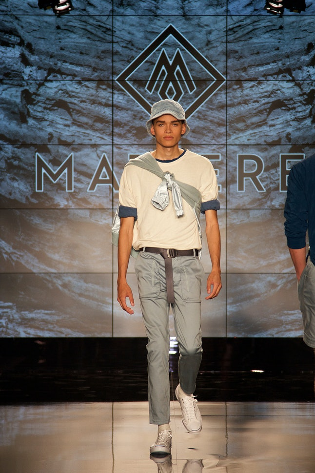A model walks in the Matiere show at NYFW: Men's