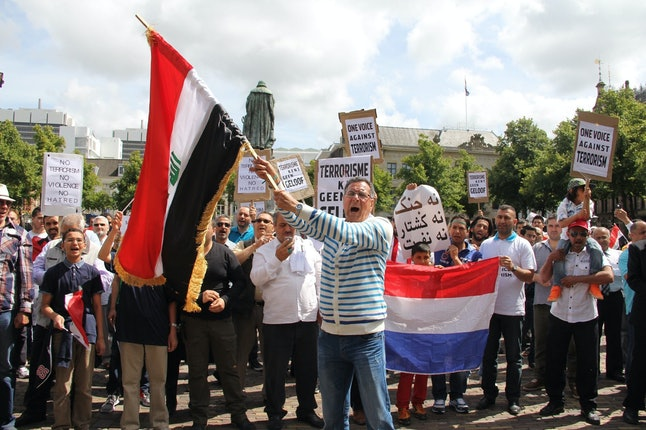 Muslims stage a protest rally against the attacks by the terrorist groups, especially the ISIS violence in Iraq, in The Hague, Netherlands on June 29, 2014.
