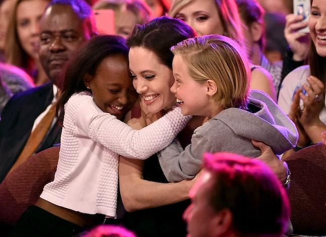 Angelina Jolie with children Zahara and Shiloh at the 2015 Nickelodeon Kids' Choice Awards