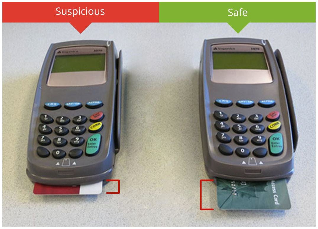 Here's what a credit or ATM card skimmer looks like — and the one