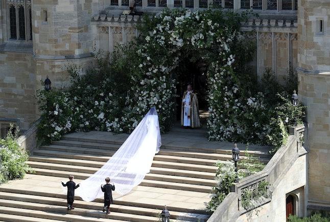 Meghan Markle walking into St. George's Chapel in Windsor Castle.