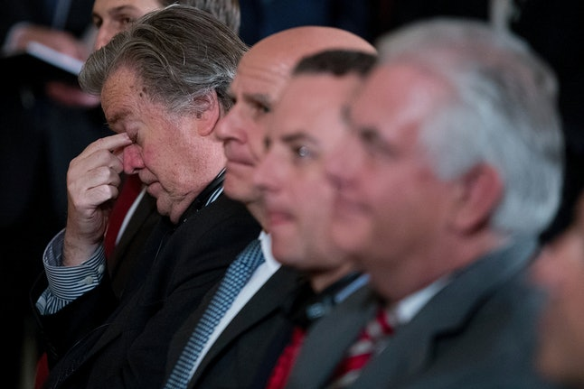 Steve Bannon rubs his eyes as President Donald Trump speaks with Italian Prime Minister Paolo Gentiloni at a White House joint news conference in April 2017.