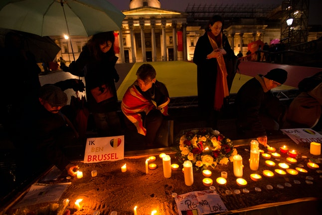 A candlelight vigil in London after the Brussels attack.