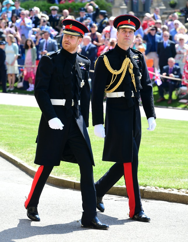 Prince Harry and Prince William arrive at St George's Chapel.