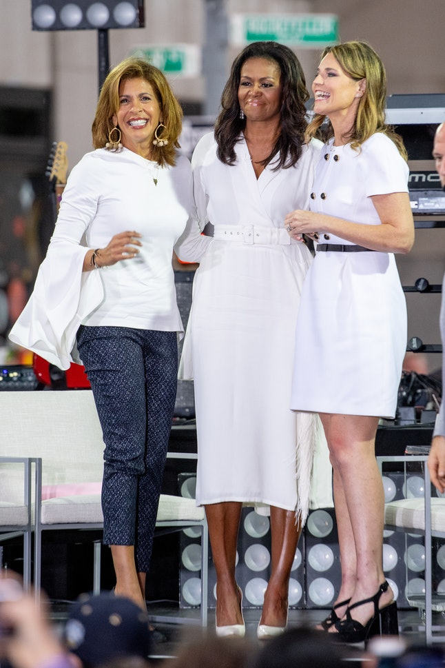 Hoda Kotb, Michelle Obama and Savannah Guthrie onstage during NBC's 'Today' on Oct. 11 in New York City.