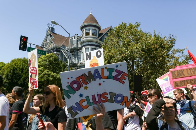 Protesters blocked off intersections near Alamo Square Park in San Francisco.