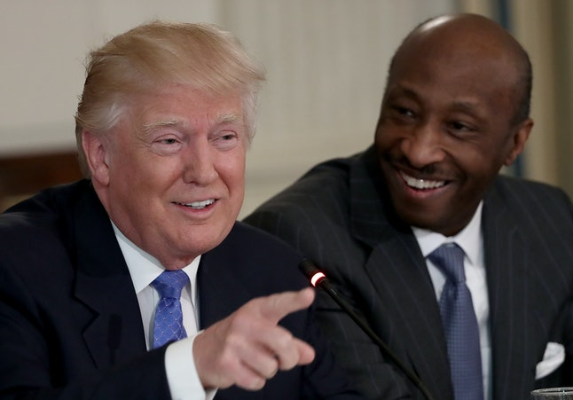 Kenneth Frazier, right, with Donald Trump