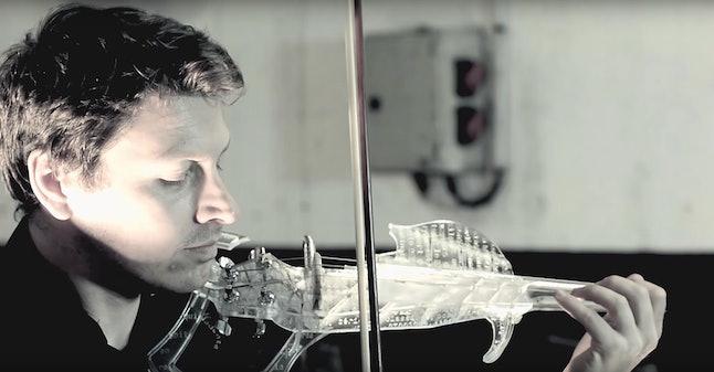 A 3-D printed electric violin.