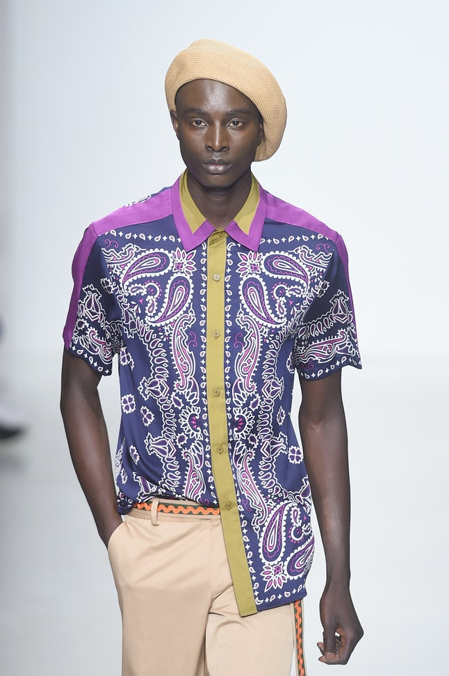 A model at the General Idea show at NYFW: Men's