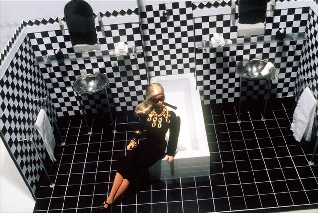 A Barbie doll wearing designer clothes taken in Paris, May 1985