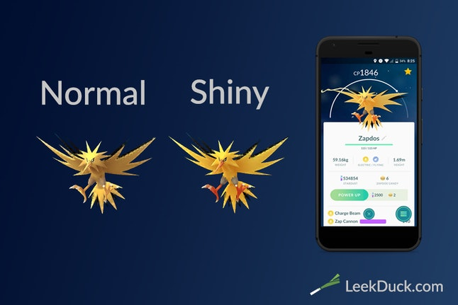 Leek Duck's comparison between the normal and shiny-colored Zapdos