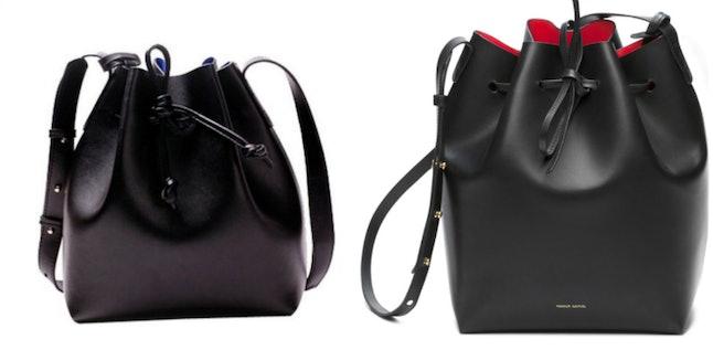 ILISHOP Drawstring Bucket Bag (L); Mansur Gavriel Bucket Bag (R)
