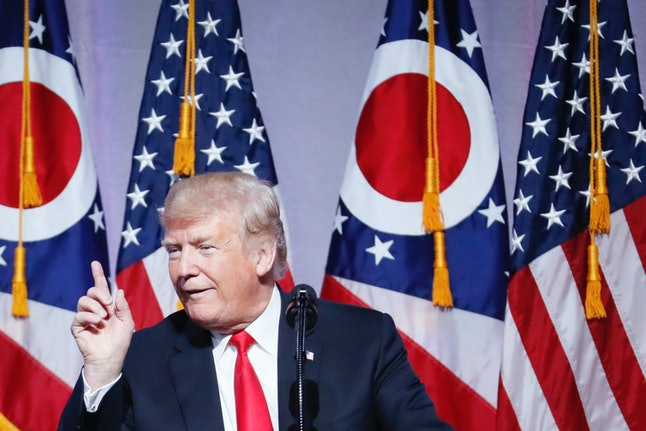 Donald Trump speaks at the Ohio Republican Party State Dinner on Friday.