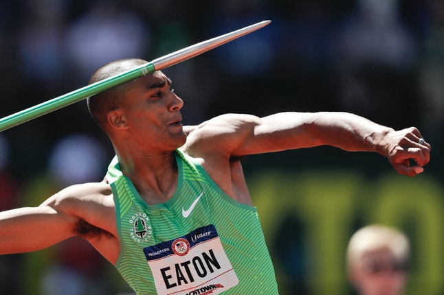 Ashton Eaton competes in the decathlon javelin throw at the U.S. Olympic Track and Field Trials, Sunday, July 3, 2016, in Eugene, Oregon.